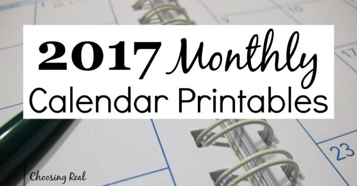 I use these 2017 monthly calendar pages to quickly see each month at a glance.