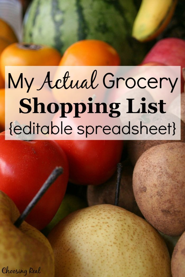 I am giving you my actual grocery shopping list that I use each week. This list has streamlined my grocery shopping. Take it and customize to work for you.