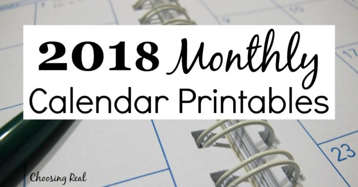 Use these 2018 monthly calendarpages to quickly see each month at a glance.