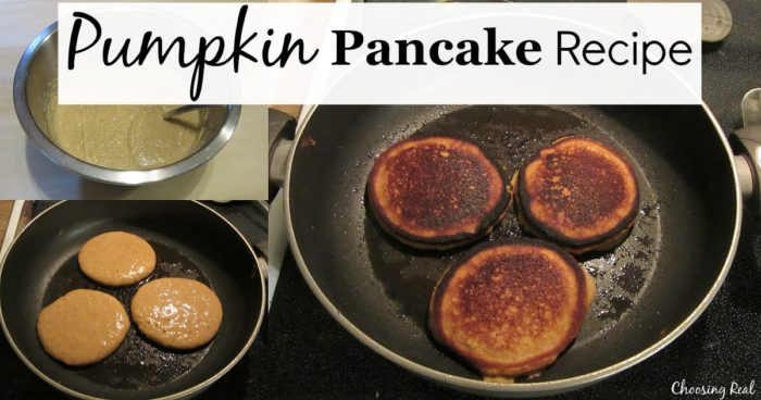 This pumpkin pancake recipe makes thick and fluffy pancakes that go great served with a little whipped cream and lots of fruit.