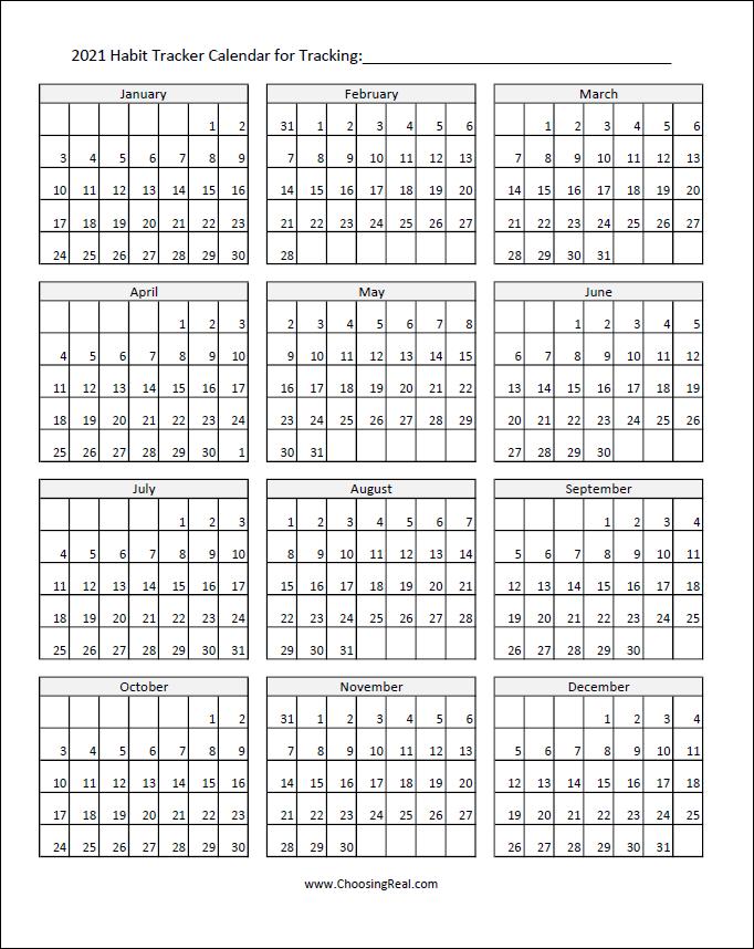2021 habit tracker calendar