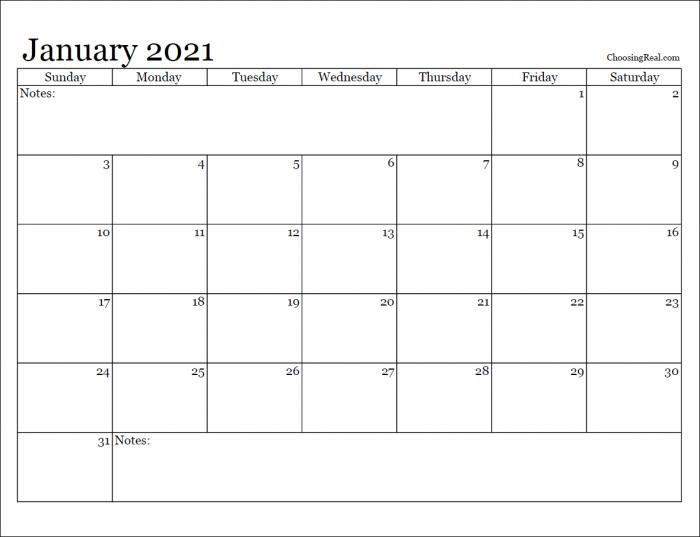 2021 monthly calendar printables